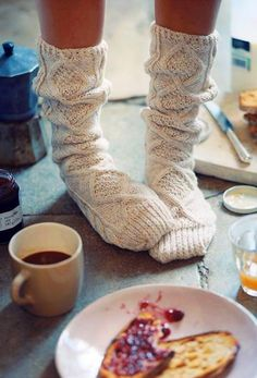 Cozy Socks! Make me wanna cuddle up with some hot chocolate by a fireplace :)
