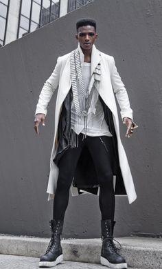 Desmond Daniel for Florian Wowretzko + Photography Harol Baez Urban Fashion, High Fashion, Mens Fashion, Fashion Menswear, Gothic Fashion, Looks Cool, Men Looks, Men Street, Street Wear