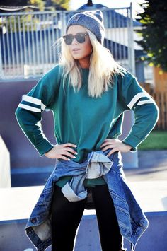 big denim jacket- stripes on the arms- i like the use of stripes in sportswear, will consider this in my design work.
