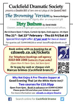 February Double Bill | Cuckfield Dramatic Society Meant To Be, Acting, February, Teacher, Posters, Professor, Postres, Banners, Poster