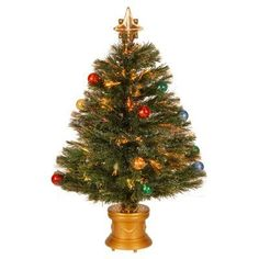 3 ft. Fiber Optic Inner Ornament Fireworks Pre-lit Christmas Tree - SZOX7-100L-36-1
