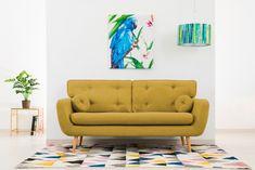 Canapea Fixa 3 locuri Malva Lemon #homedecor #interiordesign #inspiration #homedesign #livingroom #nordic #scandinavian #style #house #decor Aqua, Love Seat, Living Room Decor, House Design, Couch, Pastel, Interior Design, Retro, Inspiration