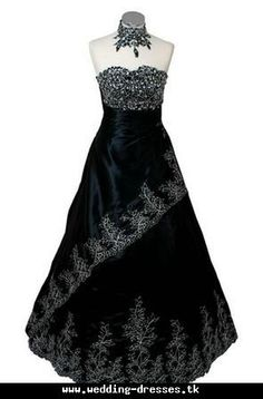 black country wedding dress - pretty, but I would never use for a wedding, but since I'm married it doesn't matter! Black Wedding Gowns, Country Wedding Dresses, Bridal Wedding Dresses, American Dress, Steampunk Wedding, Wedding Designs, Wedding Ideas, Wedding Stuff, Dream Wedding
