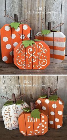 3 Fall Pumpkins Painted with Dots, Stripes & Swirls Rustic Wood Pumpkins, Fall decor, Thanksgiving decor, Halloween pumpkins #affiliatelink #ad