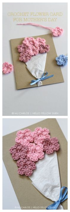 Crochet Flower Card Free Pattern for Mother's Day