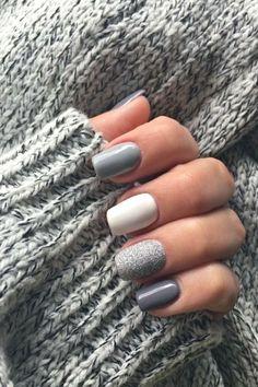 Fall Acrylic Nails, Acrylic Nail Designs, Squoval Acrylic Nails, Round Nail Designs, Grey Nail Designs, Coffin Nails, Holiday Nails, Christmas Nails, Winter Nails