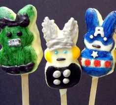 Use all those sugary Peeps you get in your Easter basket to make these cute Superhero Peep Pops!