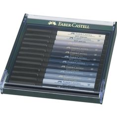 Caneta Pincel Pitt Estojo C/12 Tons de Cinza Ref.267423 Faber-CAstell - GrafittiArtes