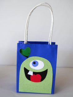 Mini-Monster gift bag- royal blue & green. $1.95, via Etsy.