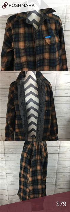 Columbia men's winter jacket. Pre Owned men's Columbia Fleece/Flannel winter jacket. Men's size large with Velcro pockets and extra buttons.     Make an offer! Columbia Jackets & Coats Ski & Snowboard