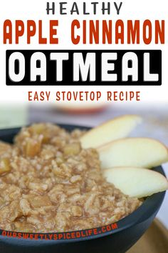 Healthy Stovetop Apple Pie Oatmeal - stop looking for stovetop oatmeal recipes and make this apple pie oatmeal breakfast recipe! (TONS of flavor!) It's a healthy vegan breakfast recipe and a quick and easy stovetop oatmeal. Topped with gooey cinnamon apples and golden raisins, this vegan breakfast easy is a  perfect healthy holiday breakfast and fall apple recipe Vegan apple pie oatmeal is  topped with roasted pecans to complete the best apple pie oatmeal breakfast ever! #breakfast #vegan…