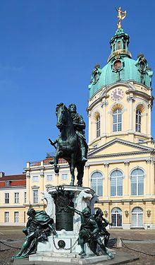 Schloss Charlottenburg, Berlin, Germany - Statue Friedrich Wilhelm I (der Große Kurfürst) elector of Brandenburg in the cour d'honneur of the palace