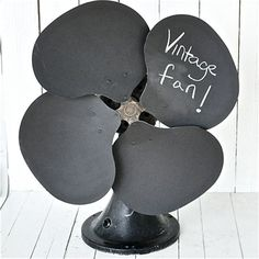 Upcycled Chalkboard Fan ~ Rescued Junk by old crow farm Craft Font, Chalkboard Decor, Diy Fan, Reduce Reuse Recycle, Vintage Fans, Chalk It Up, Diy Projects To Try, Project Ideas, Chalk Paint