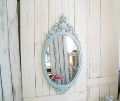 French Blue Oval Ornate Mirror, Dusty Blue Floral Vintage Mirror, Shabby Chic Oval Mirror Shabby Chic Oval Mirror, Ornate Mirror, French Cottage Decor, Shabby Chic Cottage, Rustic French, French Blue, Close Up Photos, Dusty Blue, Etsy Vintage