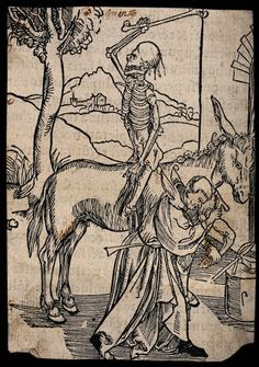 A skeleton sits backwards on a horse waiting for a blacksmith. The Wellcome Library, CC-BY