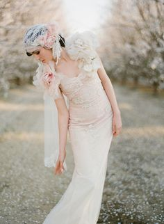 Almond orchard wedding, 20s style wedding dress