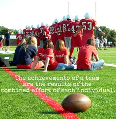 """Good quote for my football players sign! Adriana Johnson: """"Yip everybody matters in a team like in an office. The Assistant to the Executive. In life we all have our parts. Football can't be won with one player. """""""