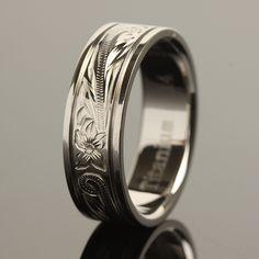 Hawaiian Jewelry Titanium Scrolling Ring 8mm - Makani Hawaii,Hawaiian Heirloom Jewelry Wholesaler and Manufacturer