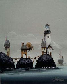 Gary Walton acrylic 'Lighthouse Bridge'