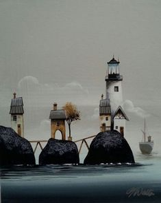 Gary Walton acrylic 'Lighthouse Bridge'
