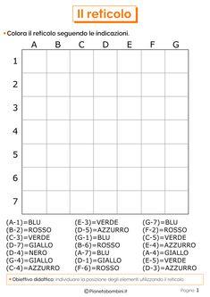 Il Reticolo Geografico: Schede Didattiche per la Scuola Primaria | PianetaBambini.it Fun Worksheets, Vocabulary Worksheets, Coding For Kids, Math For Kids, Activities For 2 Year Olds, Math Activities, Hidden Picture Puzzles, Math Sheets, Graph Paper Art