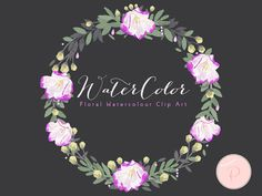 Watercolor Flower Magenta Floral Clip art by MagicalStudio on Etsy