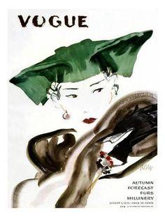 Vogue Cover - August 1935 Giclee Print by René Bouét-Willaumez at Art.com