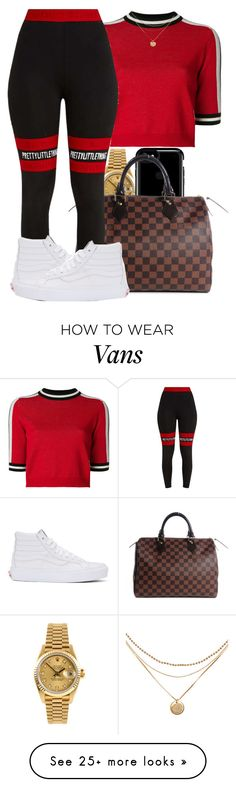 """""""I know that you be creeping round"""" by mindlesspolyvore on Polyvore featuring MSGM, Rolex, Speck, Louis Vuitton, Pretty Little Thing and Vans"""