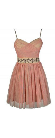 Pink Ice Rhinestone Embellished Pink and Beige Mesh Designer Dress  www.lilyboutique.com
