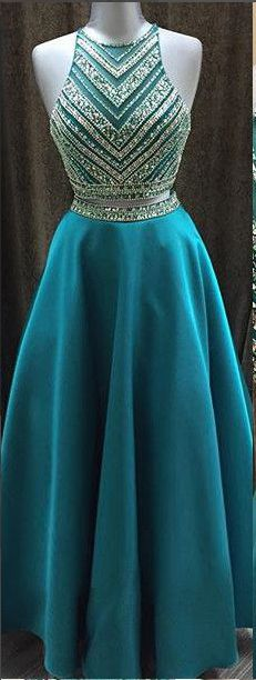 Long Beading A-line Prom Dresses, Modest Two Pieces Prom Dress, Party Dresses, Formal Evening Dresses - tu estylo - A Line Prom Dresses, Grad Dresses, Prom Party Dresses, Formal Evening Dresses, Modest Dresses, Homecoming Dresses, Cute Dresses, Beautiful Dresses, Dress Party