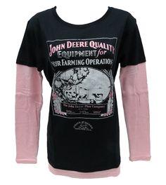 John Deere `Quality Equipment` L/S Black Tee w/ Thermal Sleeves