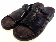 CLARKS Women's Shoes ~ Black Leather Open Toe Vlecro Strap Sandal Flats ~ US 9 M #Clarks #Slides