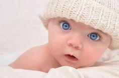 Happy baby, velké krásné modré oči, děti, dítě vektor