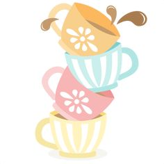 Tea Cups Stacked SVG cutting files for scrapbooking cute files cute clip art tea clipart free svgs silhouette cricut