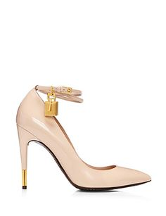 TOM FORD Patent Leather Pump with Ankle Strap and Lock