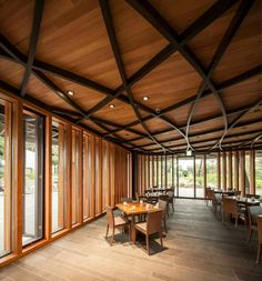 An Expressive Gesture: Taekwang Country Club Café by mecanoo - DETAIL - Magazine of Architecture + Construction Details Timber Architecture, Architecture Details, Cafe Pictures, Hospital Design, Floor To Ceiling Windows, Timber Ceiling, Club Design, Beautiful Buildings, Country