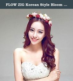 """FLOW ZIG Korean Style Bloom Bridal/Beach Honeymoom/Party Head Flowers/Headpieces/Garland. Height:7.87""""(Approx.20cm); Diameter:7.87""""(Approx.20cm); Tips:Notice: Actual handmade product image for illustration purposes only. Actual product may vary, but in general, alll aspects of the product will prevail.; Net Weight:0.35Kg; Shipping Weight:0.3."""