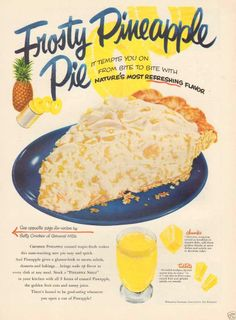 1950s vintage FROSTY PINEAPPLE PIE Retro Kitchen BLUE Yellow FOOD Bakery Cook Ad