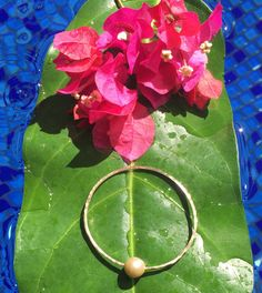 Handmade 14K Gold Filled Bangle With Genuine Freshwater Pearl