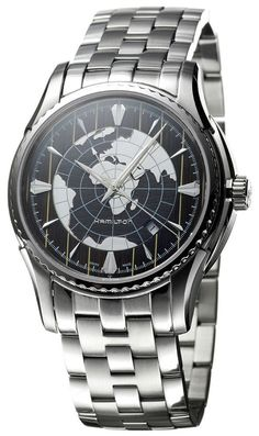 Hamilton Aquariva Brown World Map Dial Steel Mens Watch Calendar H34615191