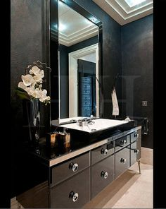 All black bathroom.  #bathroom tiles, shower, vanity, mirror, faucets, sanitaryware, #interiordesign, mosaics, modern, jacuzzi, bathtub, tempered glass, washbasins, shower panels #decorating