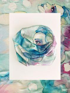 jedwabna apaszka ręcznie malowana
