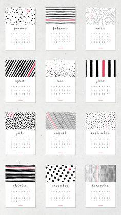 Dots & Stripes Freebie Kalender  2017 zum Herunterladen und Ausdrucken.