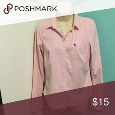 Work button down shirt White and pink stripped button down, good condition, no flaws Abercrombie & Fitch Tops Button Down Shirts