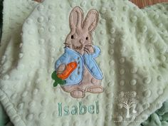 Peter Rabbit Inspired Personalized Minky Baby Blanket, Peter Rabbit Inspired Appliqued Blanket, Baby Boy Blanket, Blue Minky Blanket by LullabyGardens on Etsy