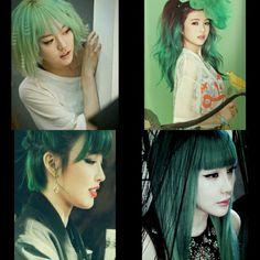 If you are curious=Hello venus*Lime,Red Kpop Girl Groups, Kpop Girls, Kpop Hair Color, Red Velvet Joy, 2ne1, Green Hair, Venus, Crushes, Lime