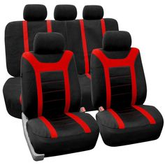 Cover the front seats and the rear bench of your sports car with this stretchy polyester fabric. The rear bench seat cover extends to cover seat benches up to 56'' in length. For shorter seat benches,
