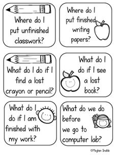 Back to School Classroom Procedure Task Cards- Editable!