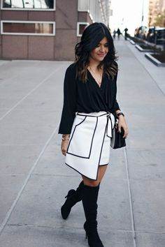 A black and white outfit perfect for the holidays ft.an asymmetrical skirt via @chicwish