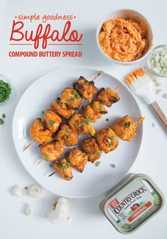 Kids love Buffalo wings so here's a new way to enjoy this game day favorite. Mix up Buffalo compound buttery spread by combining a 1/2 cup of new, simple Country Crock®—made with real ingredients—with 2 tsp. of sriracha sauce, 1 tsp. of chopped garlic, 1/4 tsp. celery seed, and a 1/4 cup of crumbled blue cheese, if desired. Add chicken pieces to skewers, brush on Buffalo spread, and grill. With fresh country taste and major kid appeal, it's a winning combo your family will ask for all… Appetizer Recipes, Snack Recipes, Dinner Recipes, Appetizers, Cooking Recipes, Healthy Recipes, Chunky Dunk, Lunches And Dinners, Meals